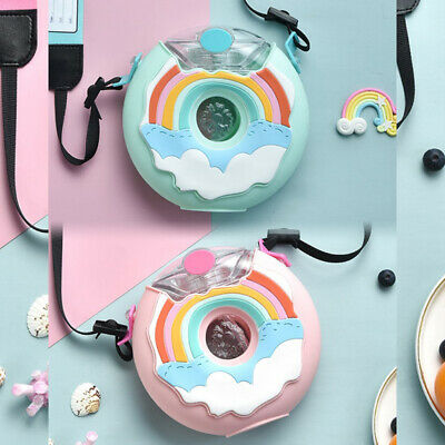 Chic Cartoon Water Bottle For Kid Donut Silicone Kettle With Straw Water BotPT • 10.76£