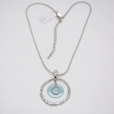 $ CDN10.11 • Buy Lia Sophia Jewelry Silver Plated Hammered Circle Pendant Genuine Shell Necklace