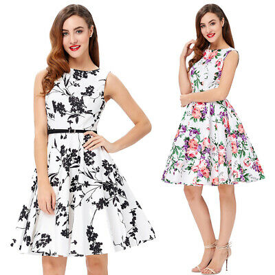 Prom 1950s A-Line Swing Vintage Dress Housewife Pinup Party Floral Style Dress • 17.18£
