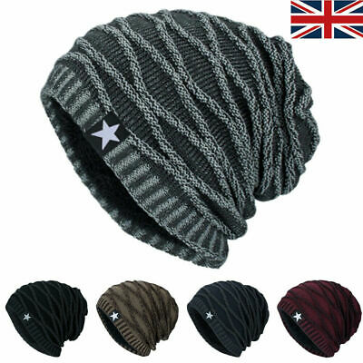 Unisex Knitted Slouch Beanie Hat Winter Warm Thermal Fleece Lined Sports Ski Cap • 6.64£