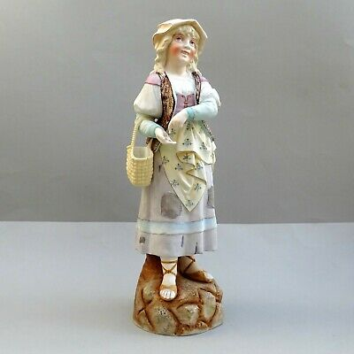 Large 19thC Bisque Figure ~ Peasant Girl With Coins & Basket ~ 16  Tall  Antique • 75£