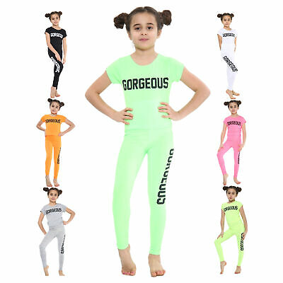£8.99 • Buy Girls Tops And Leggings Set Gorgeous Print Outfit Neon Crop T-Shirt 5 - 14 Years