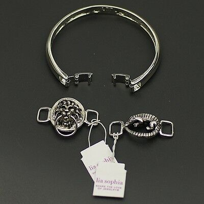 $ CDN10.11 • Buy Lia Sophia Signed Jewelry Set Silver Tone Bracelet Pangolin Lion Bangle Pendant
