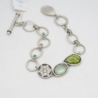 $ CDN10.11 • Buy Lia Sophia Jewelry Vintage Silver Plated Cut Crystals Bracelet Toggle Bangle