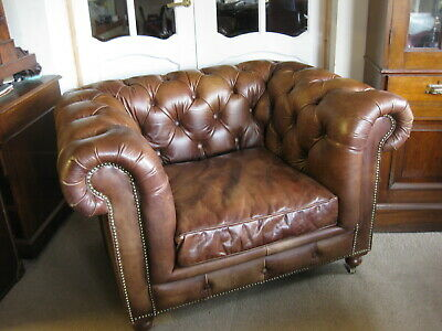 John Lewis Halo Tan Leather Chesterfield Club Chair / One Seater Sofa • 525£