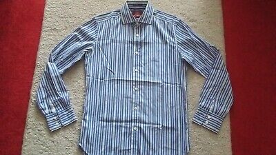 M&S:Sartorial Men's Tailored Fit Striped Shirt. Blue. Collar 15 .  Double Cuff. • 18£