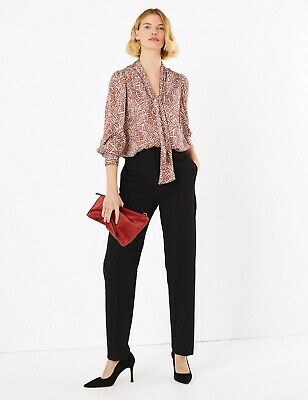 £12.99 • Buy BNWT M&S Straight Leg Mid Rise Pin Tuck Trousers - Black Office Business  (ST19)