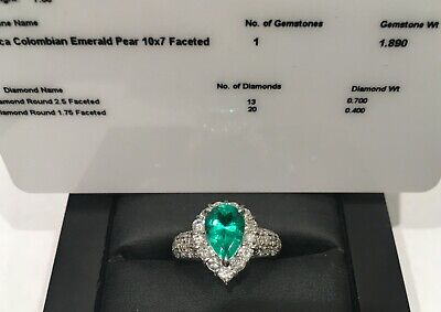 Pear Cut Colombian Emerald And Diamond Platinum  Halo Ring Size L • 3,150£
