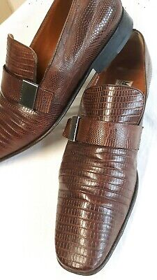 Italian MORESCHI RUSSELL & BROMLEY Tan Lizard Penny Loafer 8 Exotic Leather Shoe • 74.99£