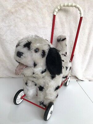 Vintage Dog On Wheels Mulholland & Bailie Push Along Spotty Dalmatian Soft Toy • 59.99£