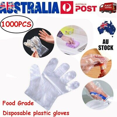 AU17.99 • Buy 1000pcs Plastic Disposable Gloves Transparent Food Handling Hygienic Catering AU