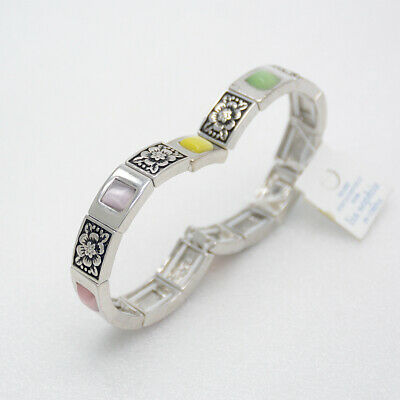 $ CDN10.11 • Buy Lia Sophia Stretch Bracelet Polished Silver Plated Colorful Opal Tennis Bangle