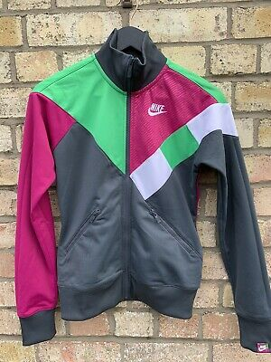 Womens Nike Track Top Zip Up Colour Block Grey Pink Green Small 8/10 • 19.99£