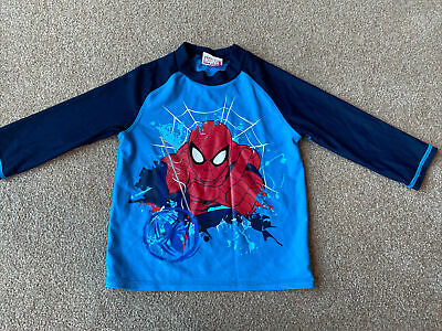 Boys Spiderman Swimming Top Age 4-5 Years UPF 40+ Sun Protection • 2.99£