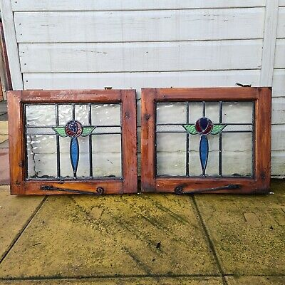 2 X VINTAGE 1930's LEADED STAINED GLASS WINDOWS ART DECO. • 99.99£