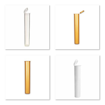 Pop Top Tubes | Pre Roll Storage | 19mm(D) X 119mm(H) | Odour Proof | Hinged Cap • 13.50£