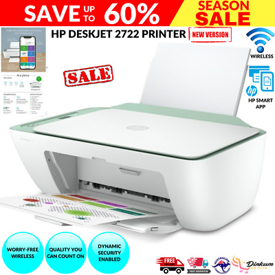 AU74.20 • Buy HP DeskJet 2722 Wireless All In One Printer HP Smart App Compatible Colour New