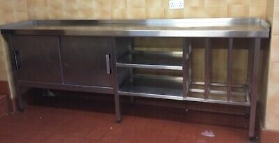 Stainless Steel Commercial Kitchen Work Top/table/shelves/cupboard 2425mm Length • 450£