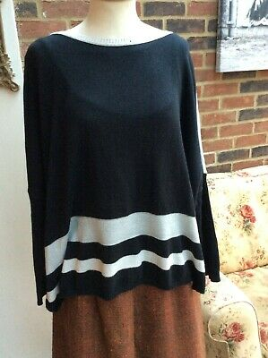 £5 • Buy Miss Captain Tortue Trend Sparkly Striped Jumper Size 14 Reversible Black/Cream