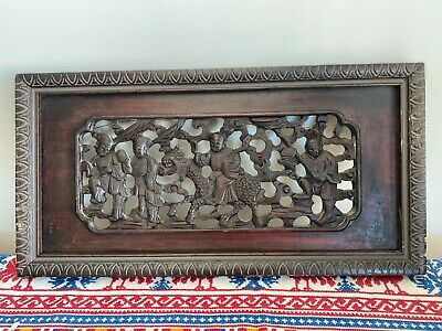 Vintage Chinese Wood Carving Panel With Frame - Asian China Wood Panel Frame • 99.99£