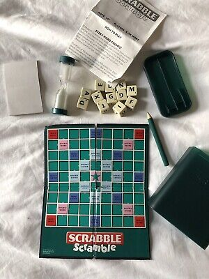Scrabble Scramble - 2 Player Pocket Sized Travel Quick Word Game - USED* • 4.95£