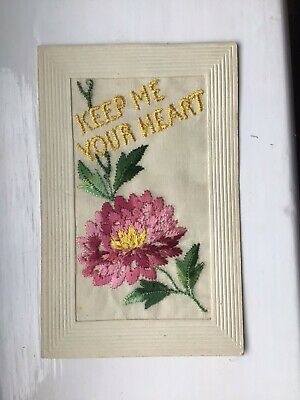 Wwi Embroidered Silk Postcard. The Last Sent To Soldier's Wife Before His Death. • 2.50£