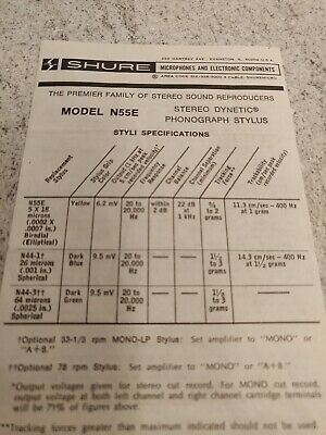 Original Shure N55E Stylus Instruction Manual User Guide Specifications 1976 • 10£