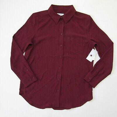 $ CDN78.05 • Buy NWT Equipment Reese In Tawny Port Woven Polyester Button Down Shirt M