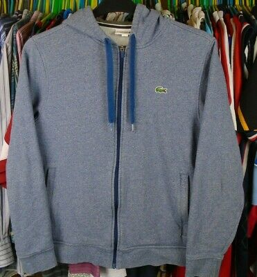 Lacoste Sport Blue Cotton Hooded Hoody Tracksuit Jacket Top Size 4 Medium Adult • 32.99£