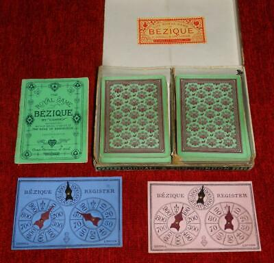 Antique Bezique Playing Cards No Indices 64/64 Goodall & Son London & 2 Markers • 25£