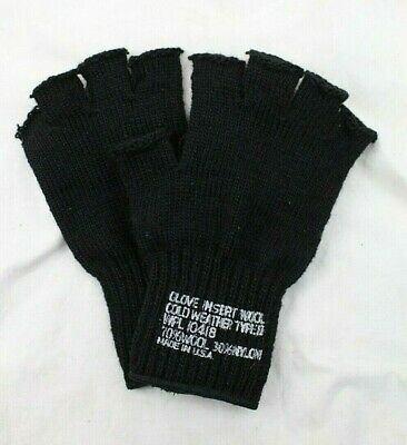 $8.49 • Buy US Army Military Fingerless Black Wool Knit Gloves - USA Made