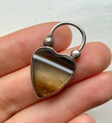 £179 • Buy Antique Victorian Silver Banded Agate Heart Pendant Padlock Locket Charm