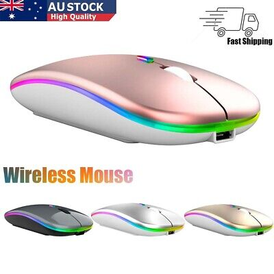 AU13.48 • Buy Slim Wireless Mouse Silent Scroll USB Mice 2.4GHz Rechargeable RGB For PC Laptop