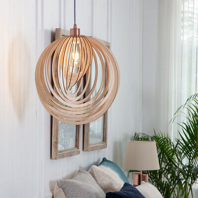 £26.99 • Buy Modern Wooden Pendant Shade Cascading Spiral Design Ceiling Lounge Lampshade