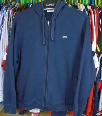 Lacoste Sport Navy Blue Cotton Hooded Hoody Tracksuit Jacket Top Size 7 Xxl • 44.99£