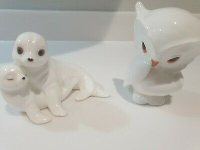 Royal Osborne White China Ornaments Owl And Seal Pups Excellent Condition   • 14£