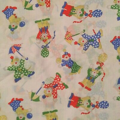 Clown Fabric, White Background With Multi Coloured Clowns • 9.50£