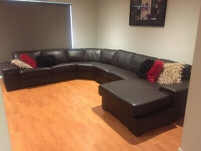 AU100 • Buy Leather Lounge Suite - 7 Seater