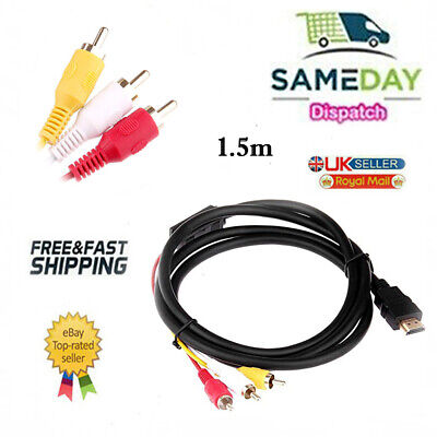 HDMI Male To 3 RCA Audio Video AV Cable Adapter Lead TV HDTV DVD 1080P 1.5 Meter • 2.99£