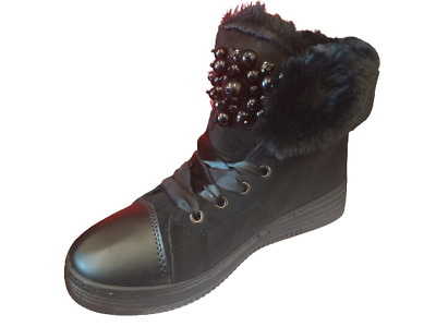 £6.99 • Buy Black Rock Chic Biker Canvas Bumpers Faux Fur Lined Beaded Lace Ups