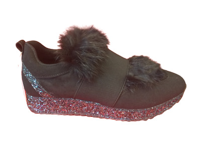 £9.99 • Buy Glam Rock Chic Black Faux Suede Fur Trimmed Trainers Glittery Sparkle Wedges