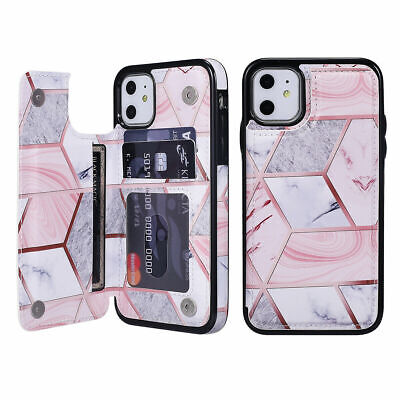 AU10.99 • Buy For IPhone 11 Pro XR X 7 8 Marble Leather Flip Wallet Card Holder Case Cover