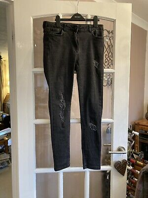 Ladies 'NEXT' Black, Ripped, Sequinned Jeans (10 R) • 4.99£