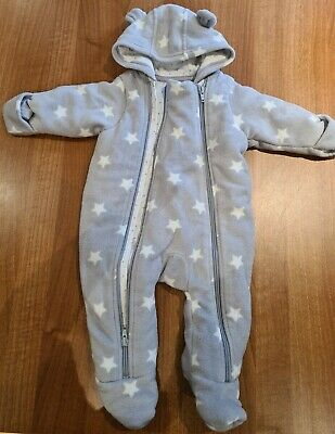 M&S Grey + White Star Snowsuit 0-3 Month Bear Ears And Hand Covers Baby Pramsuit • 1.50£