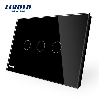 AU2 • Buy LIVOLO AU Black Tempered Glass Plate 3Gang Touch Wall Switch Led Lighting