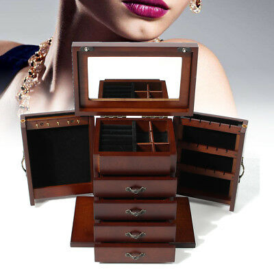 AU79.86 • Buy Large 5 Layer Wooden Jewellery Storage Box Drawer Ring Necklace Case Lock Mirror