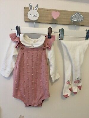 0-3 Months TU Knitted Pink Frill Romper Bodysuit Tights Winter Outfit IMMACULATE • 0.99£