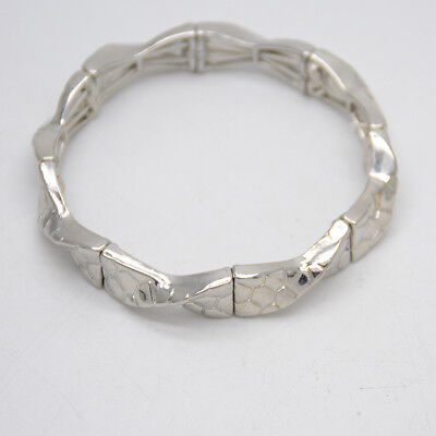 $ CDN8.85 • Buy Lia Sophia Signed Jewelry Retired Stretch Bangle Silver Wave Hammered Bracelet