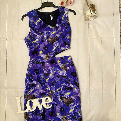 Topshop 8 Purple Iris Silk Keyhole Waist Fitted Party Occasion Clubbing Dress  • 29.99£