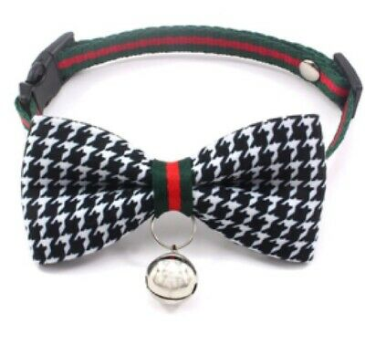 Luxury Cat Bow Tie Collar And Bell - Black And White Classic • 4.99£